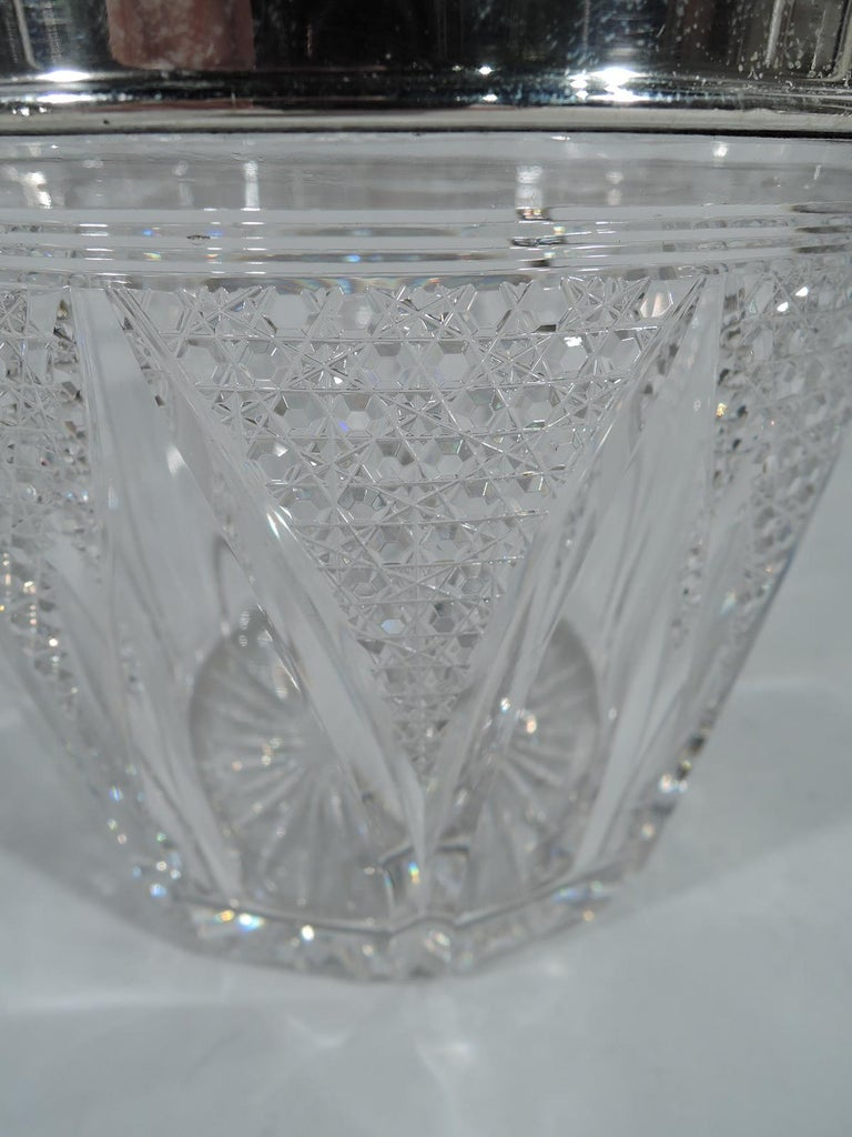 20th Century Antique American Cut Glass and Sterling Silver Ice Bucket For Sale