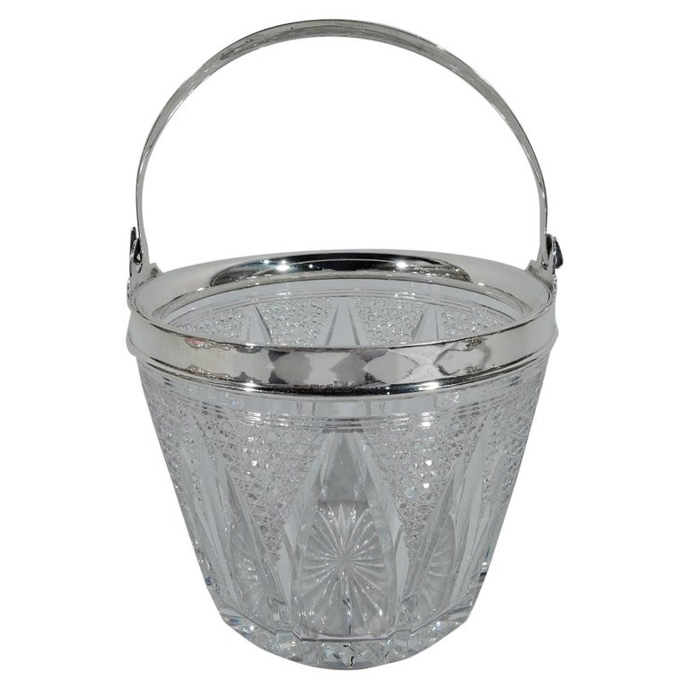Antique American Cut Glass and Sterling Silver Ice Bucket For Sale