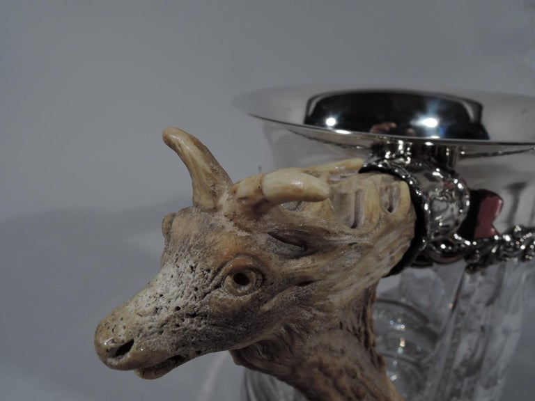 Edwardian Antique American Cut-Glass Trophy with Carved Big Game Alpha Antlers