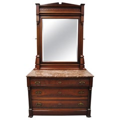American Eastlake Victorian Marble-Top Walnut Washstand Dresser with Mirror