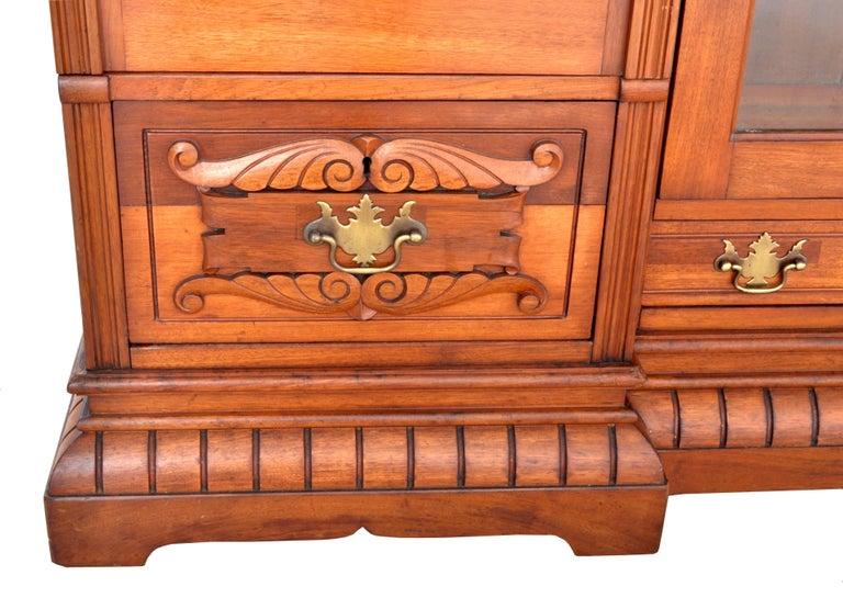 Antique American Eastlake Walnut Breakfront Bookcase/Hutch/Cabinet, circa 1890 For Sale 6