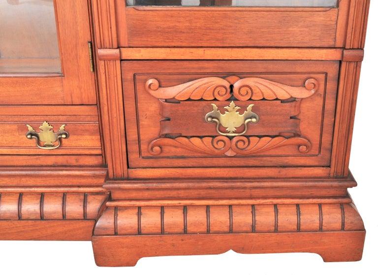 Antique American Eastlake Walnut Breakfront Bookcase/Hutch/Cabinet, circa 1890 For Sale 8