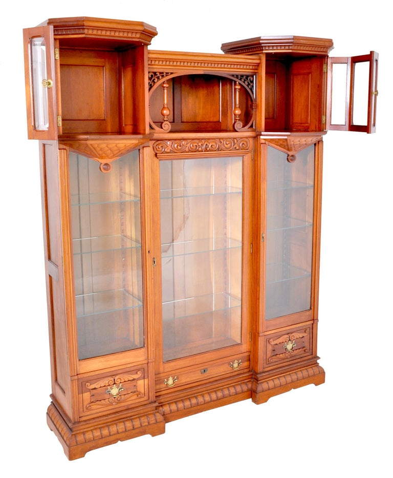 Carved Antique American Eastlake Walnut Breakfront Bookcase/Hutch/Cabinet, circa 1890 For Sale