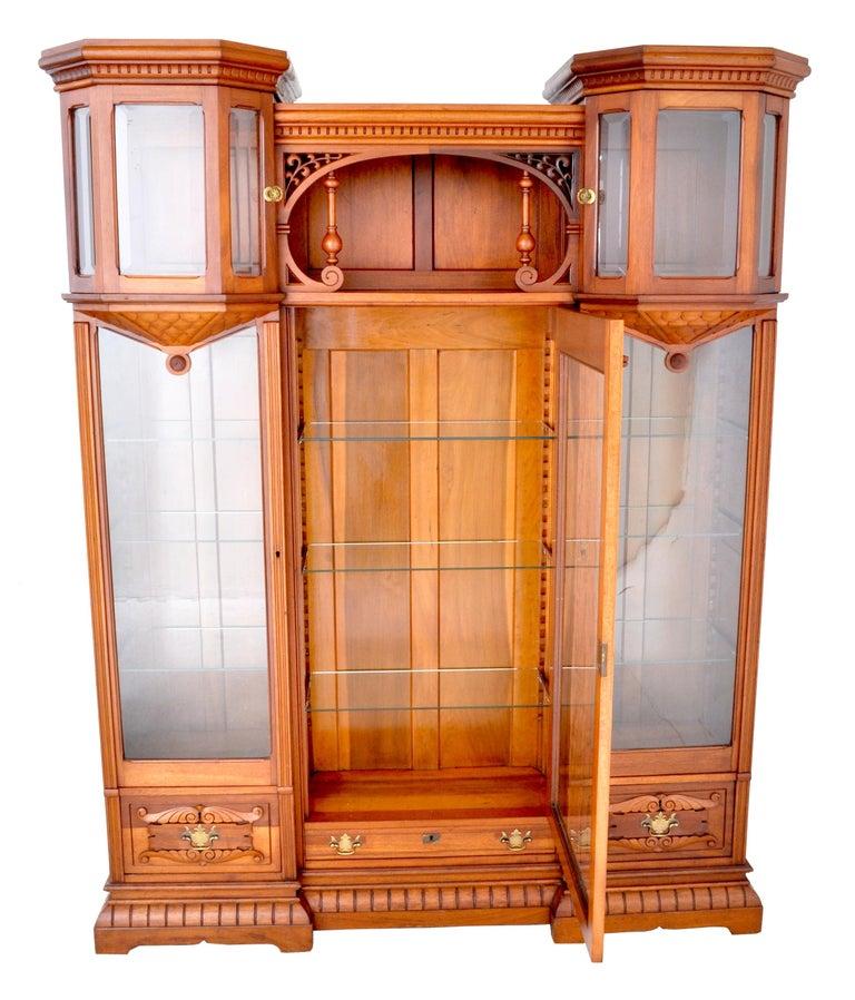19th Century Antique American Eastlake Walnut Breakfront Bookcase/Hutch/Cabinet, circa 1890 For Sale