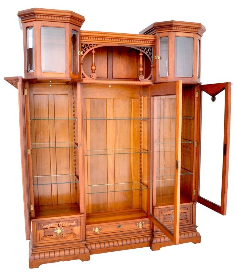 Antique American Eastlake Walnut Breakfront Bookcase/Hutch/Cabinet, circa 1890 For Sale 1