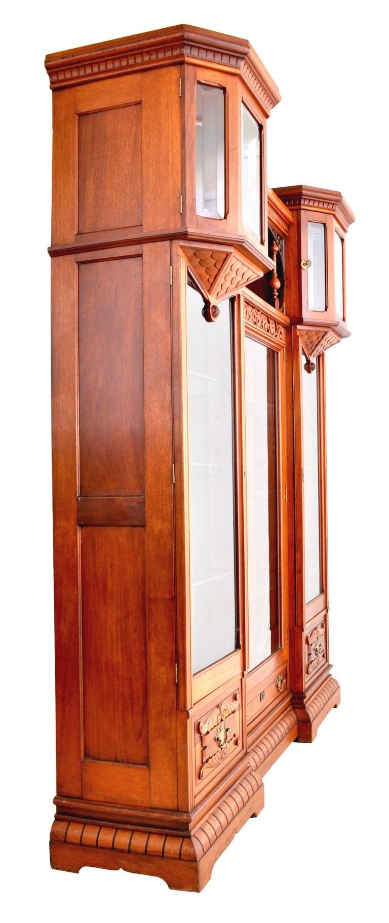 Antique American Eastlake Walnut Breakfront Bookcase/Hutch/Cabinet, circa 1890 For Sale 2