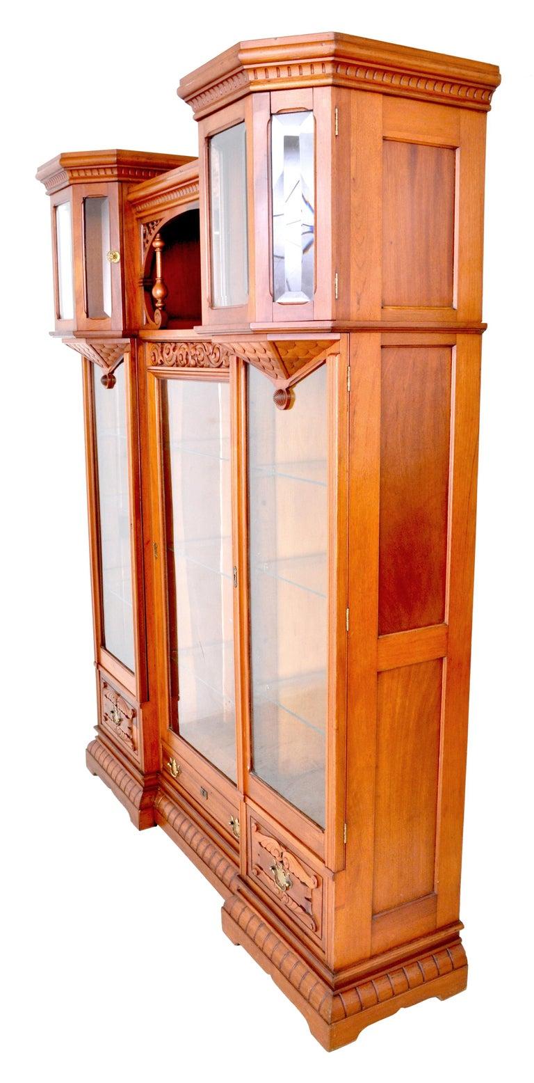 Antique American Eastlake Walnut Breakfront Bookcase/Hutch/Cabinet, circa 1890 For Sale 3