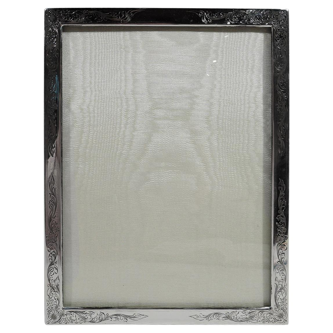 Antique American Edwardian Art Nouveau Sterling Silver Picture Frame