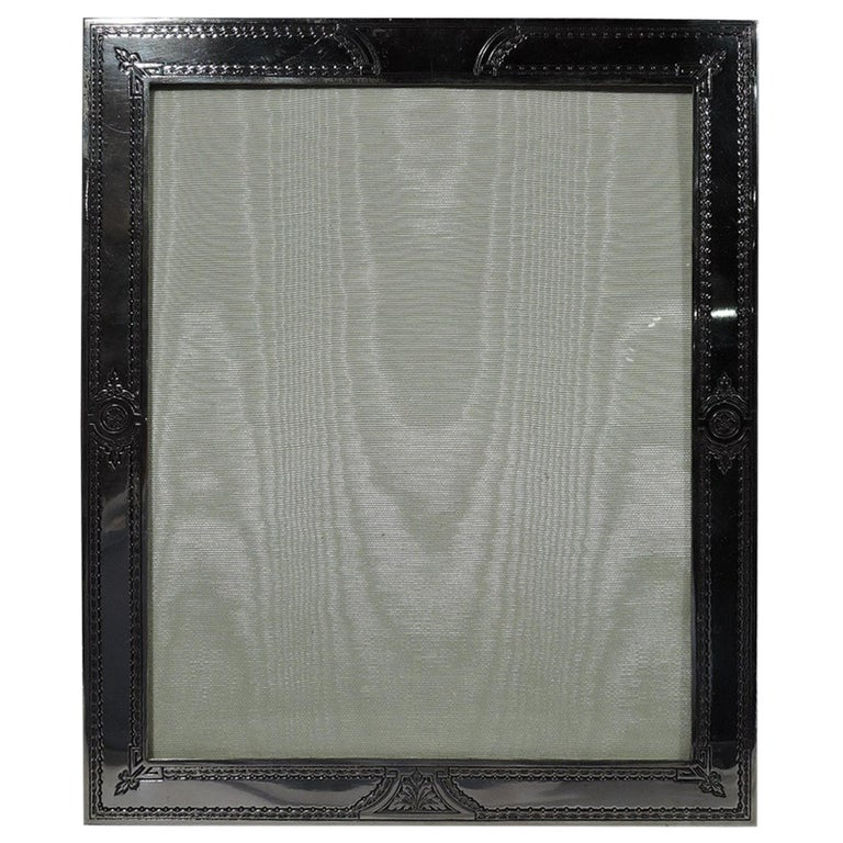 Antique American Edwardian Classical Sterling Silver Picture Frame For Sale