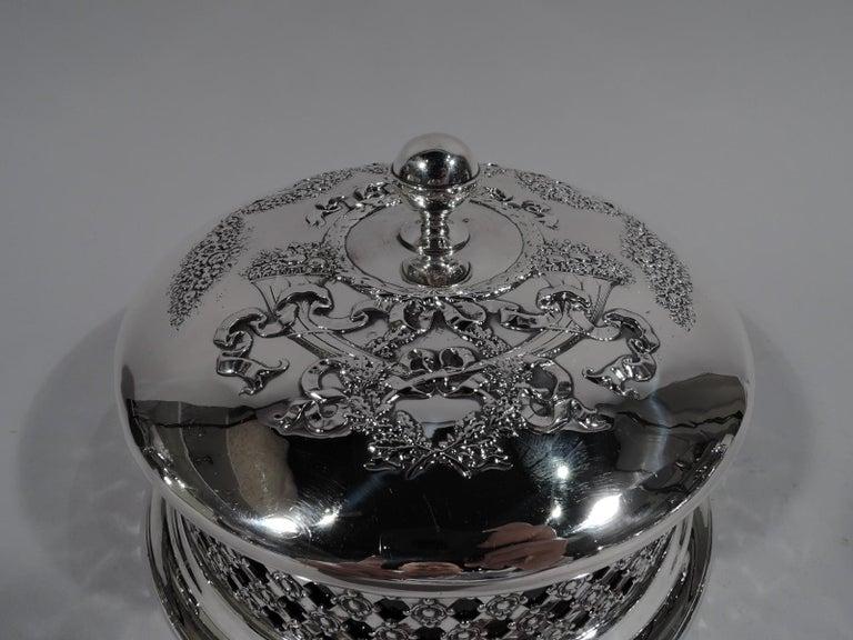 20th Century Antique American Edwardian Pierced Sterling Silver Basket Box For Sale