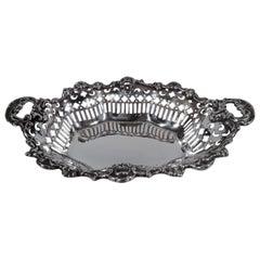 Antique American Edwardian Pierced Sterling Silver Bowl