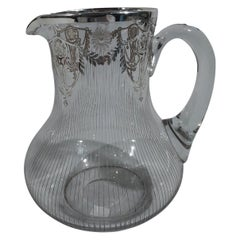 Antique American Edwardian Regency Silver Overlay Water Pitcher