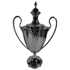 Antique American Edwardian Sterling Silver Classical Amphora Trophy