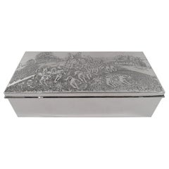 Antique American Edwardian Sterling Silver Fox Hunt Box