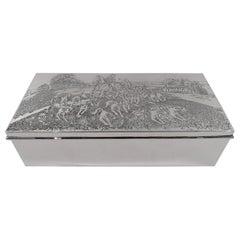 Antique American Edwardian Sterling Silver Fox Hunt Box