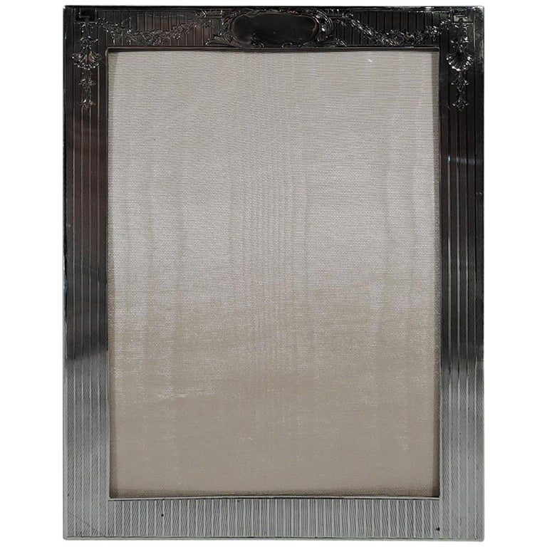 Antique American Edwardian Sterling Silver Picture Frame For Sale