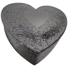 Antique American Edwardian Sterling Silver Valentine's Day Jewelry Heart Box