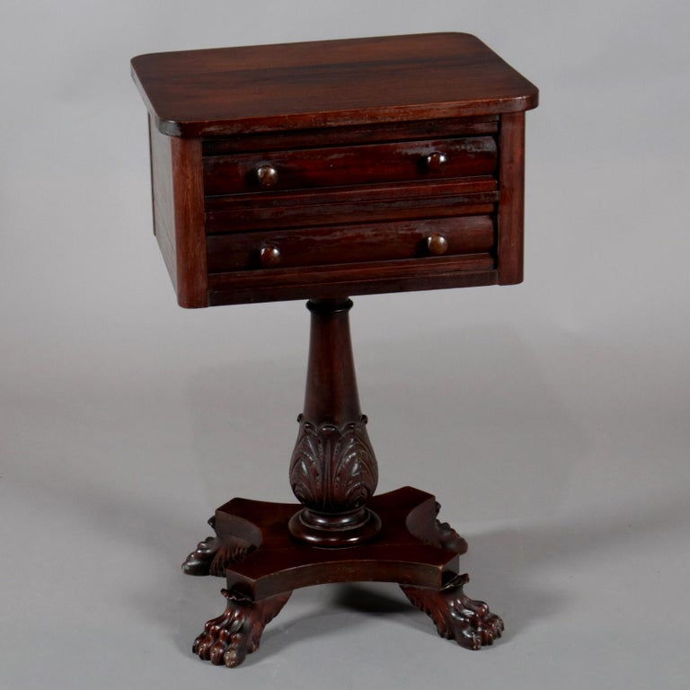 Hand-Carved Antique American Empire Acanthus Carved Mahogany 2-Drawer Side Stand, circa 1870 For Sale