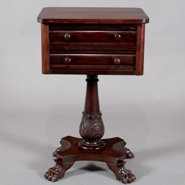 Antique American Empire Acanthus Carved Mahogany 2-Drawer Side Stand, circa 1870 In Good Condition For Sale In Big Flats, NY