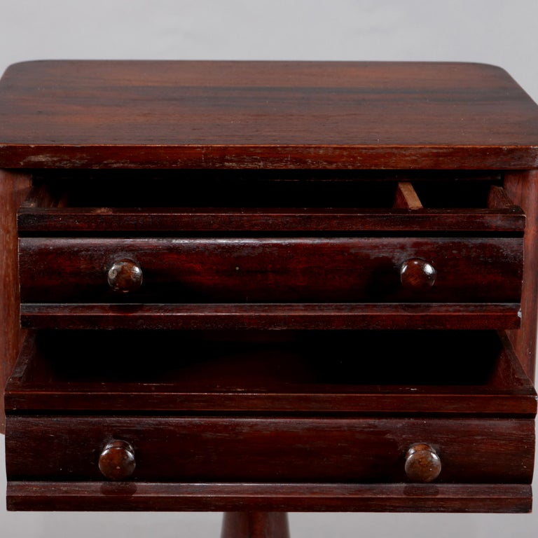 19th Century Antique American Empire Acanthus Carved Mahogany 2-Drawer Side Stand, circa 1870 For Sale