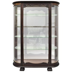 Antique American Empire Bow Glass Carved Mahogany Claw Foot China Cabinet