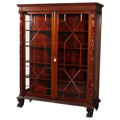 Antique American Empire Carved Acanthus and Paw Foot Mahogany China Cabinet