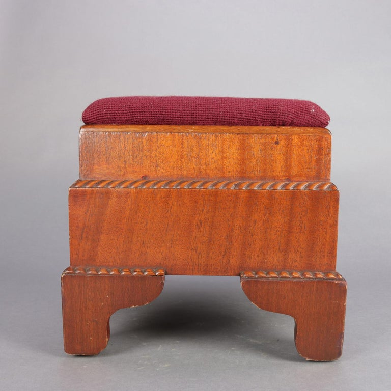Antique American Empire Carved Mahogany and Needlepoint Footstool, 20th Century For Sale 7