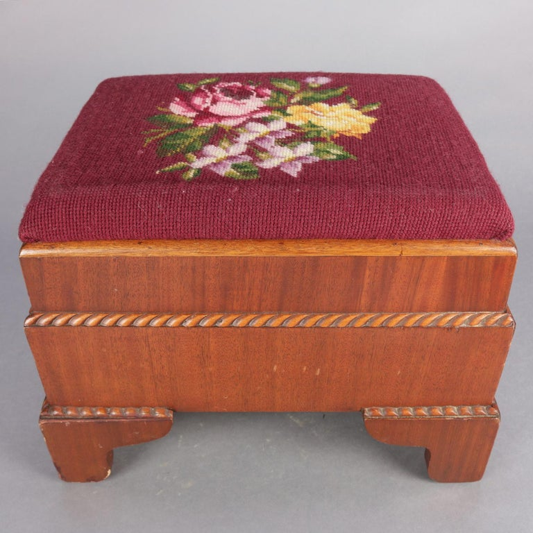 Antique American Empire Carved Mahogany and Needlepoint Footstool, 20th Century In Good Condition For Sale In Big Flats, NY