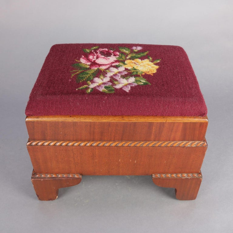 Upholstery Antique American Empire Carved Mahogany and Needlepoint Footstool, 20th Century For Sale