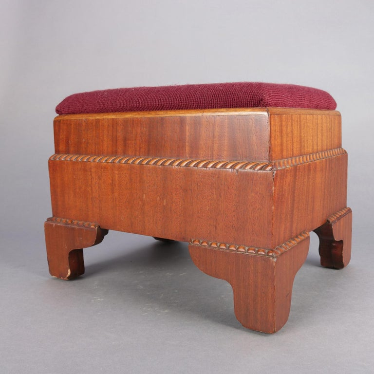 Antique American Empire Carved Mahogany and Needlepoint Footstool, 20th Century For Sale 1