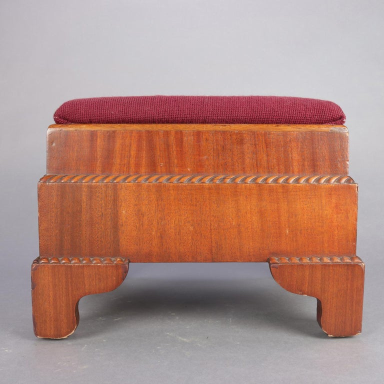 Antique American Empire Carved Mahogany and Needlepoint Footstool, 20th Century For Sale 5