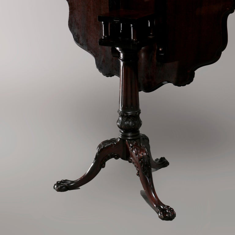 Antique American Empire Carved Mahogany Pie Crust Tilt-Top Table, 19th Century 8