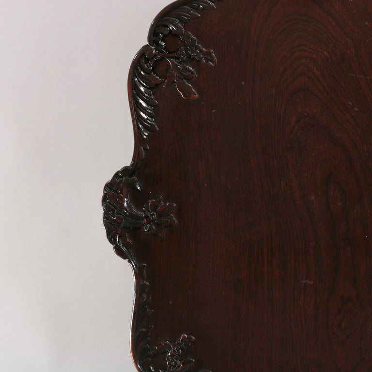 Antique American Empire Carved Mahogany Pie Crust Tilt-Top Table, 19th Century 3