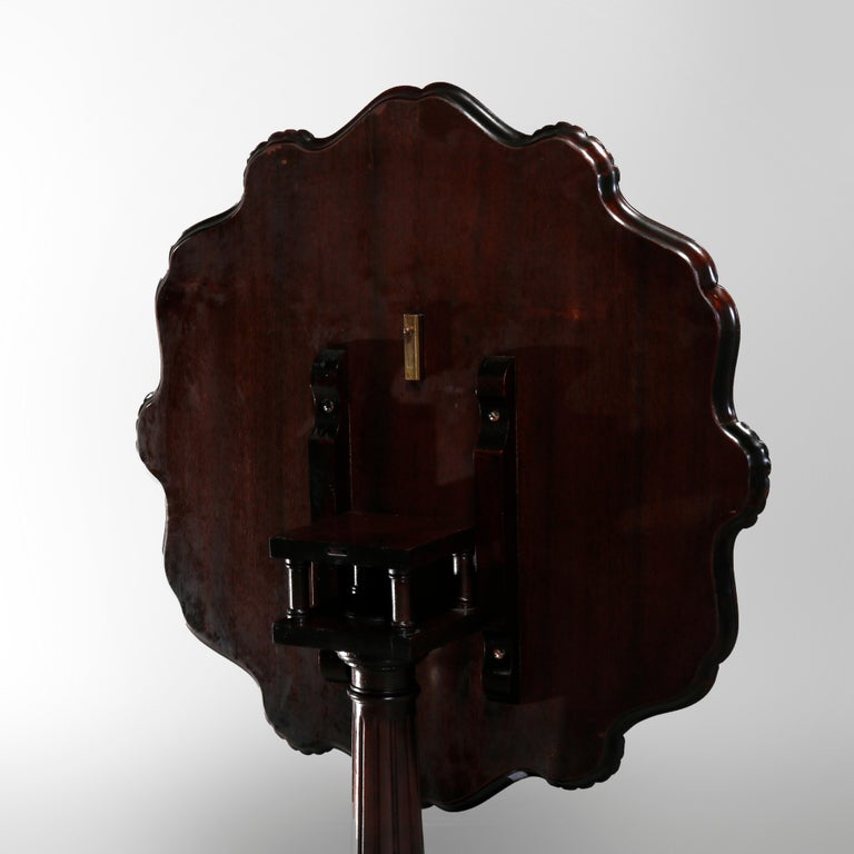 Antique American Empire Carved Mahogany Pie Crust Tilt-Top Table, 19th Century 5