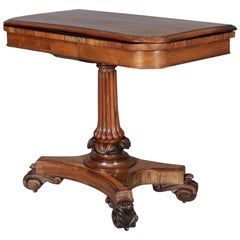 Antique American Empire Carved Rosewood Leather-Top Game Table, circa 1880