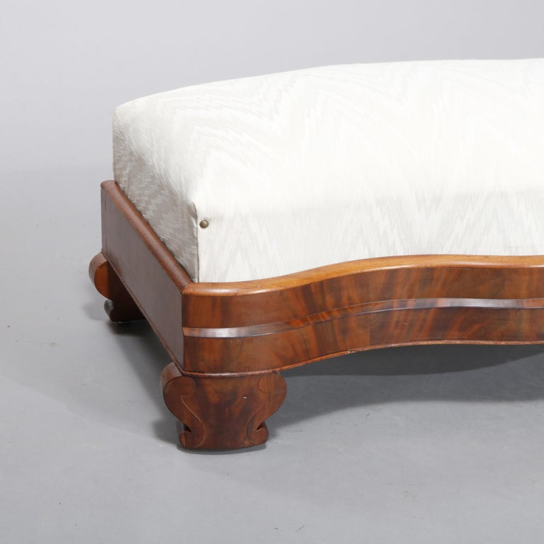 Upholstery American Empire Classical Serpentine Flame Mahogany Slipper Bench, circa 1840 For Sale