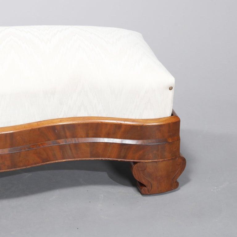 American Empire Classical Serpentine Flame Mahogany Slipper Bench, circa 1840 For Sale 1