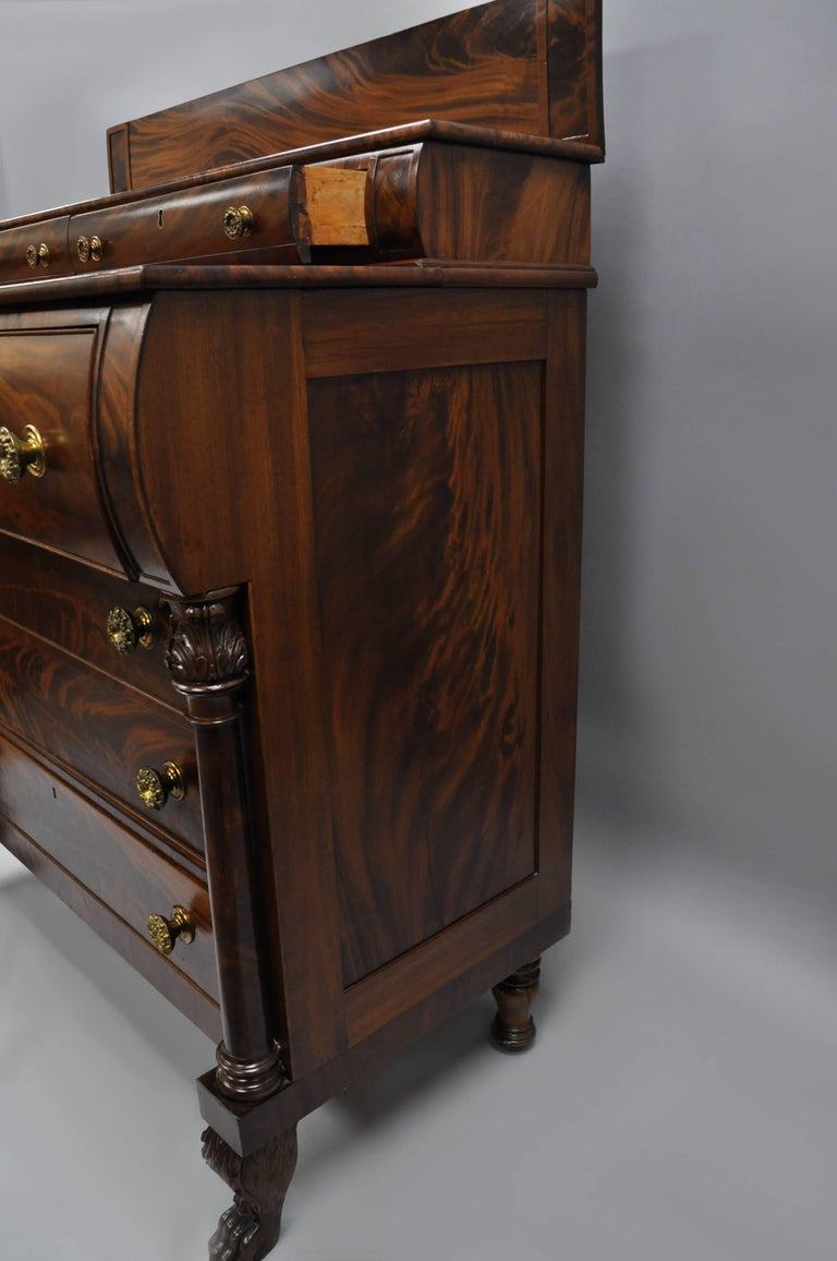 Antique American Empire Crotch Mahogany Chest Drawers Step
