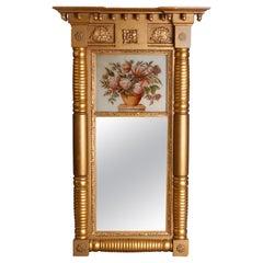 Antique American Empire Eglomise Gold Gilt Panier de Fleurs Trumeau Mirror