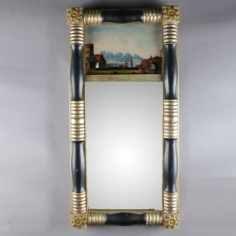 Antique American Empire Eglomise Trumeau Gilt and Ebonized Wall Mirror For Sale 5
