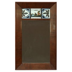 Antique American Empire Englomise Flame Mahogany Trumeau Wall Mirror, c1840