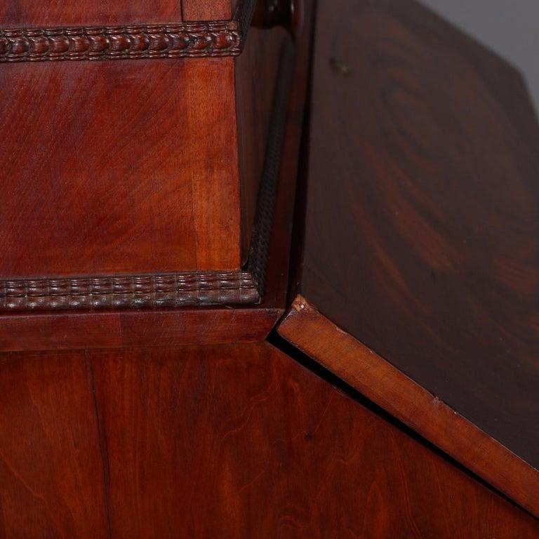 Antique American Empire Flame Mahogany Bookcase Secretary, circa 1840 8