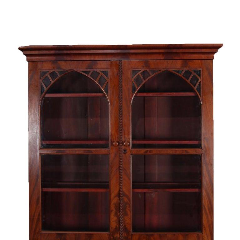 Antique American Empire Flame Mahogany Bookcase Secretary, circa 1840 In Good Condition In Big Flats, NY
