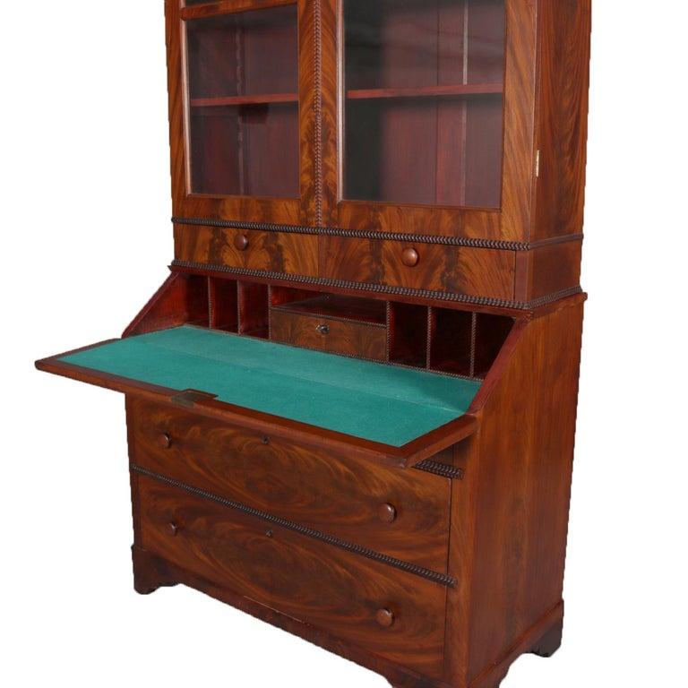 19th Century Antique American Empire Flame Mahogany Bookcase Secretary, circa 1840