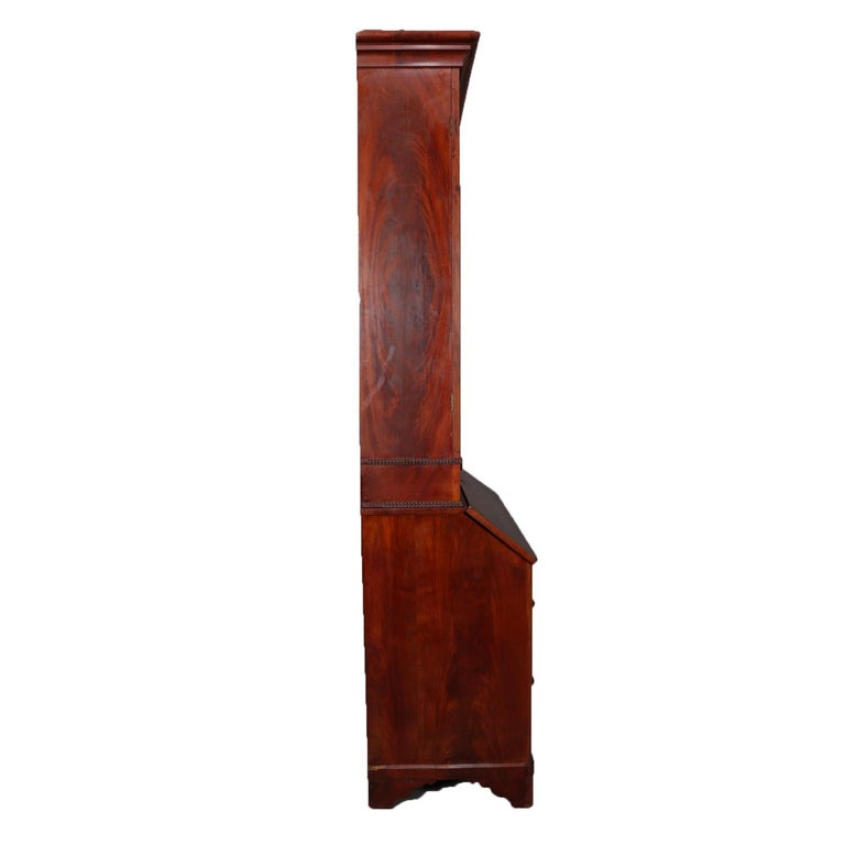 Antique American Empire Flame Mahogany Bookcase Secretary, circa 1840 1