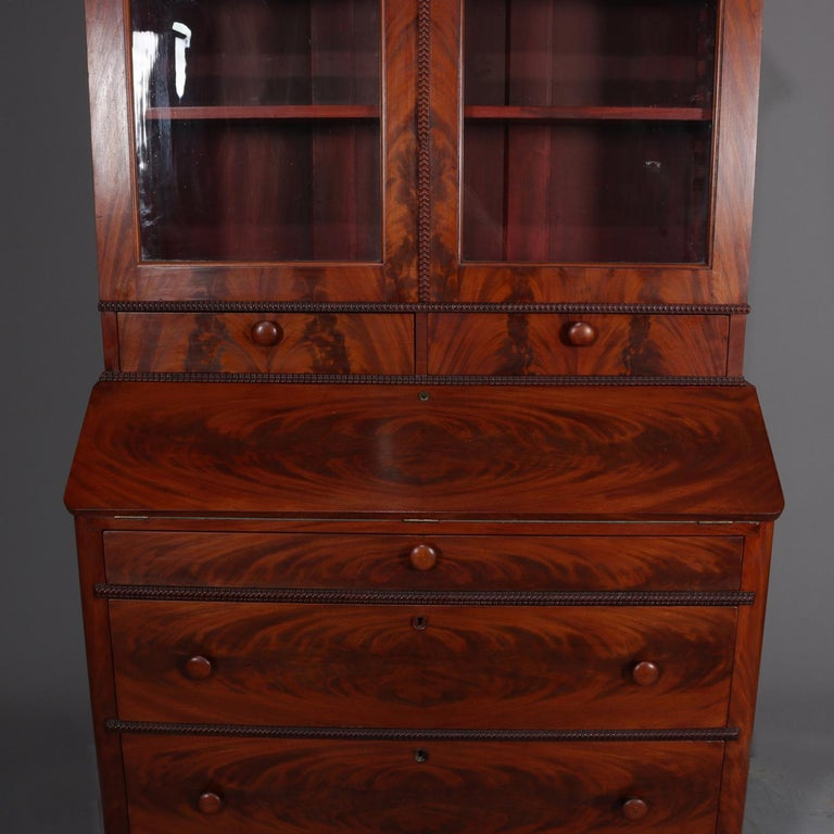 Antique American Empire Flame Mahogany Bookcase Secretary, circa 1840 3