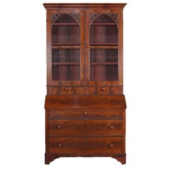 Antique American Empire Flame Mahogany Bookcase Secretary, circa 1840