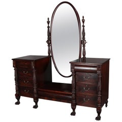 Antique American Empire Flame Mahogany Carved Acanthus Dressing Table