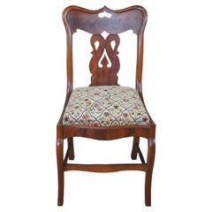 Antique American Empire Flame Mahogany Cherry Needlepoint Vanity Side Chair