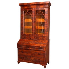 Antique American Empire Flame Mahogany Dropfront Secretary Desk, circa 1840